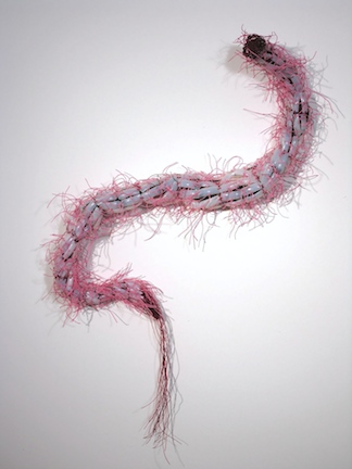 "Creature I, 2006. Artificial fingernails, waxed linen, fabric, glass beads, 46"" x 3"""