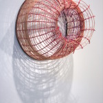 "Open Mouth 2012, Reed, cane, wire, waxed linen, glass beads, wood stain, 16"" x 20"" x 17"""