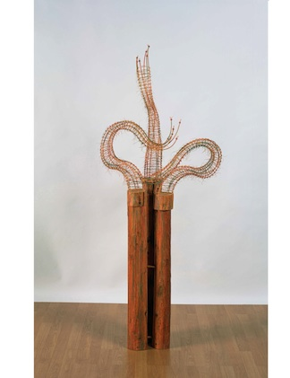 "The Three Graces ©2003, Reed, wood, waxed linen, wood stain, 66"" x 28"" x 21"""