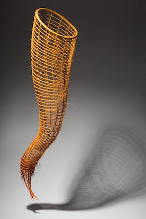 "Yellow Orange Pod ©1999, Reed, waxed linen, cedar, wood stain, 37"" x 11"" x 10"""