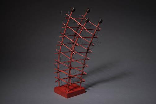 "TIpsy Pagoda ©2015, Reed, wood, waxed linen, wood stain, 13"" X 5.5"" X 4.5"""