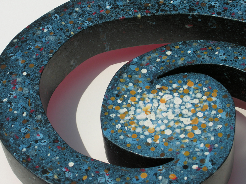 "Galaxy #1 ©2017 detail, 13"" x 17"" x 2.5"", maple, acrylic paint"