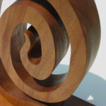 "Spiral #2 ©2017 detail, 12"" x 19.5"" x 4.25"", mahogany"