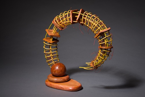 """Almost Loop #2, ©2014, 12.5"""" x 12.5"""" x 4.5"""", Reed, wood, waxed linen, wood stain"""